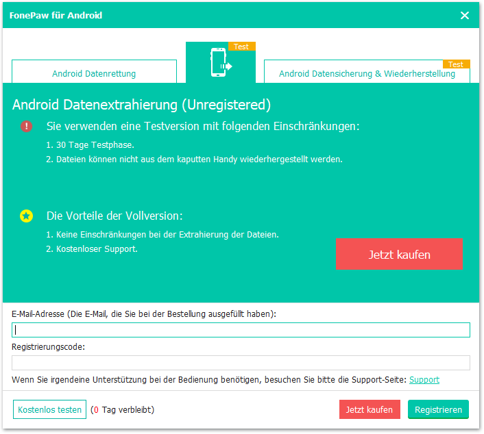 Android Datenextrahierung registrieren