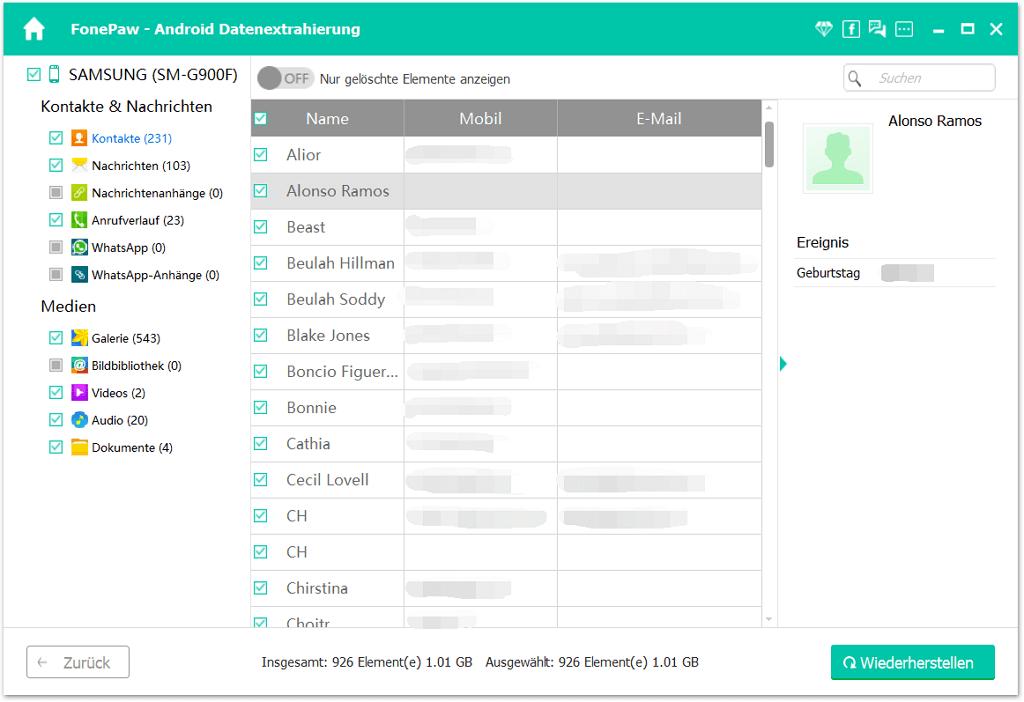 Android Kontakte extrahieren