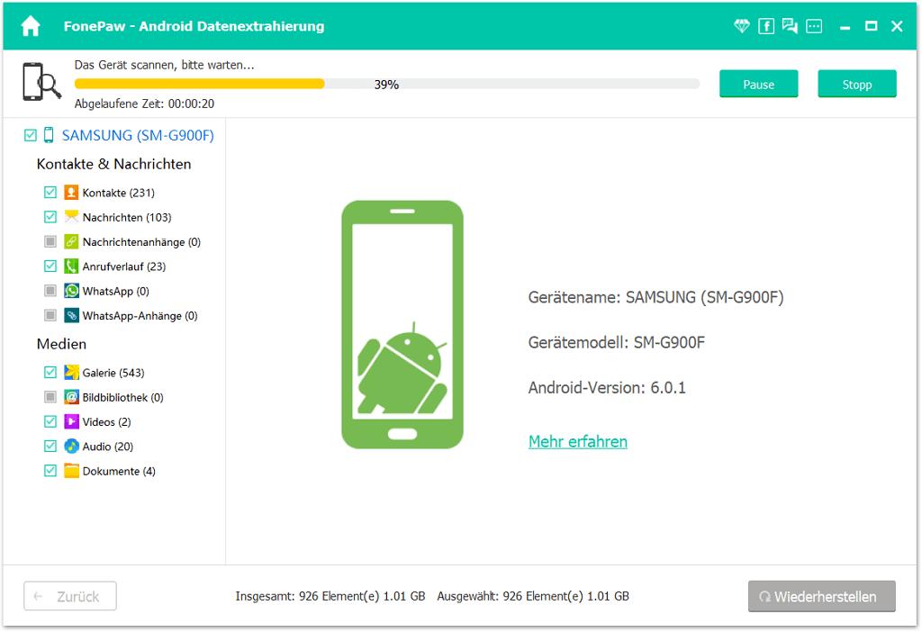 Handy Daten ausscannen