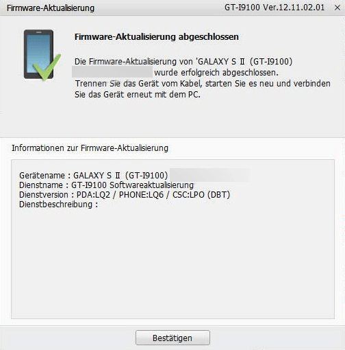 Samsung Kies Firmware Aktualisierung abgeschlossen