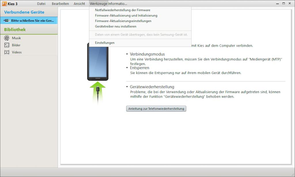 Samsung Kies Firmware Aktualisierung und Initialisierung