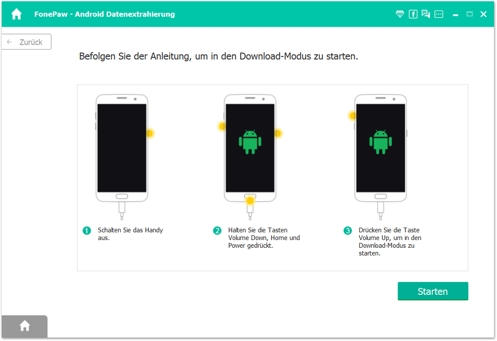 Schritten in den Download Modus