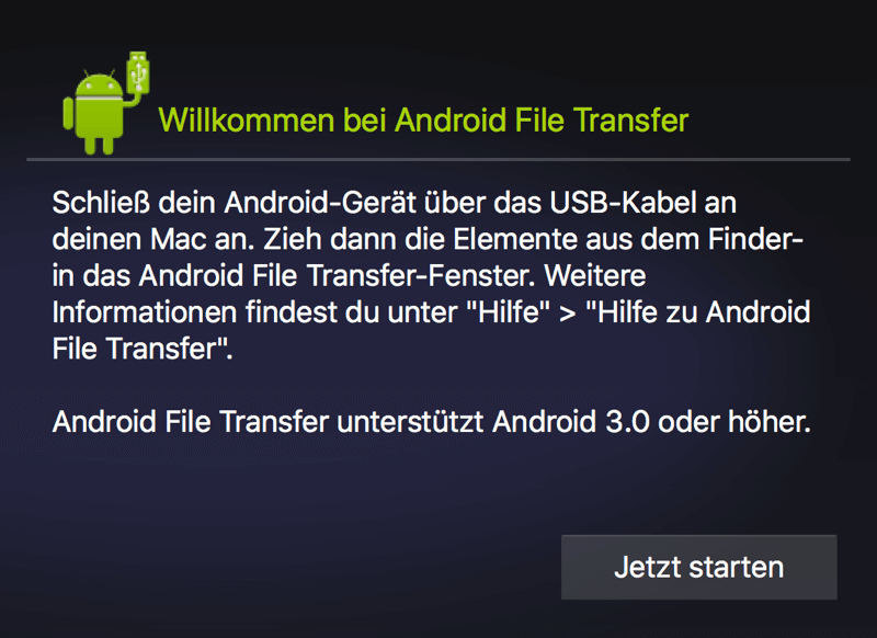 Handy mit Android File Transfer verbinden