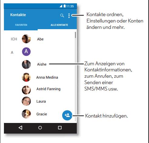 Android Kontakte hinzufügen