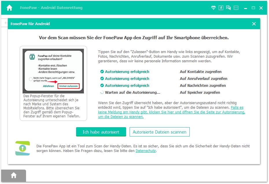 Datenzugriff Autorisierung zulassen
