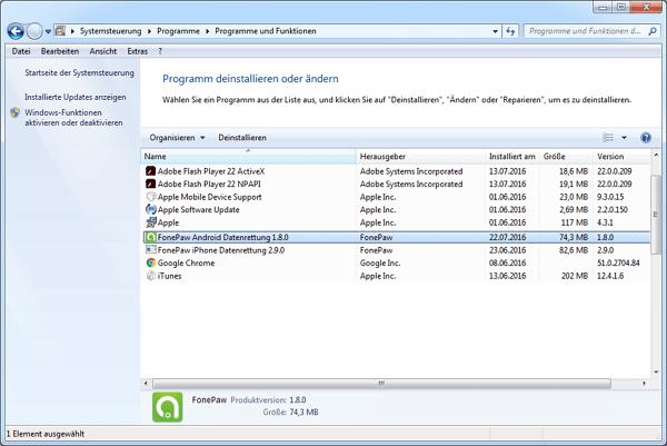 FonePaw Android Datenrettung auswählen