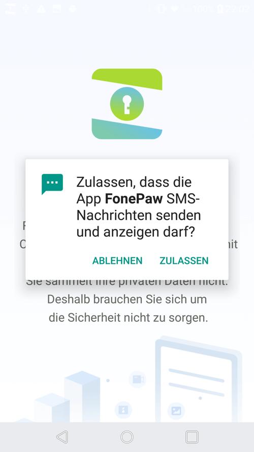 Datenzugriff für die FonePaw App zulassen
