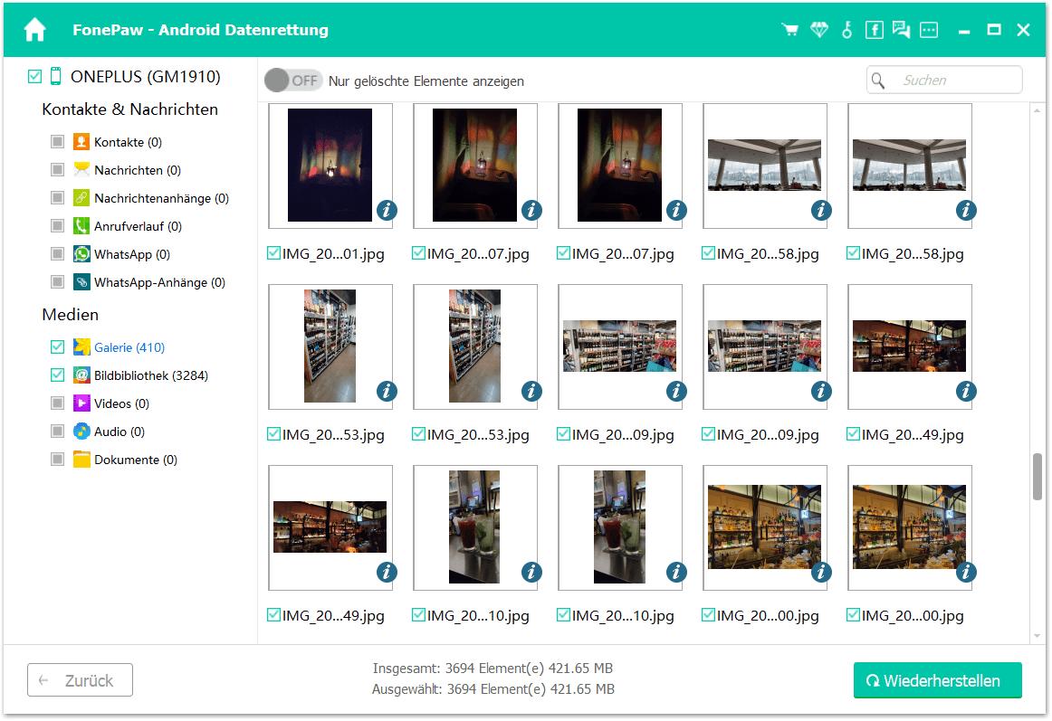 Gelöschte Bilder wiederherstellen OnePlus