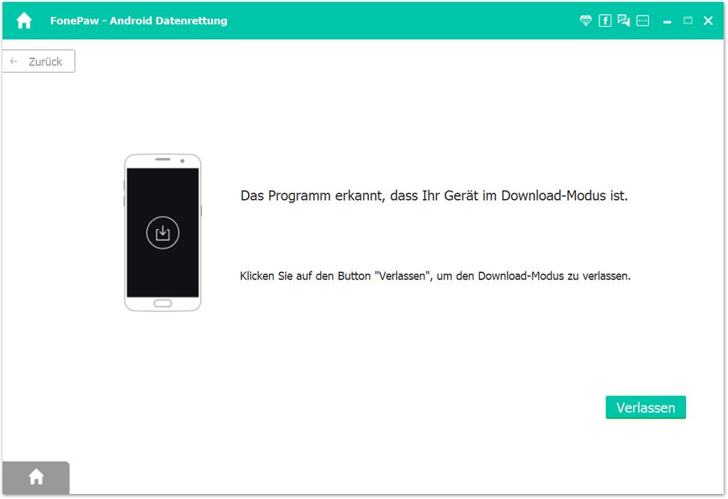 Das Programm wird erkennen, dass sich das Gerät im Download-Modus befindet