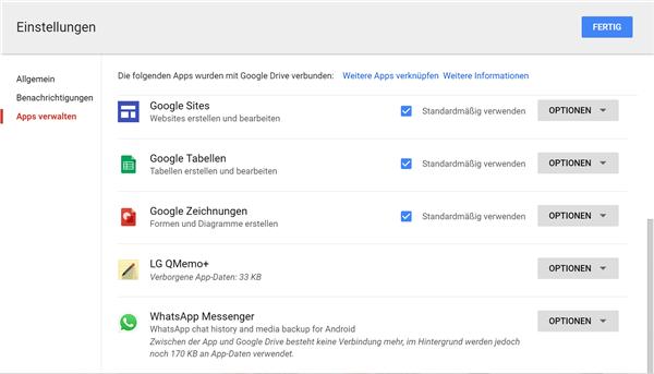 WhatsApp Messenger auf Google Drive einzustellen.