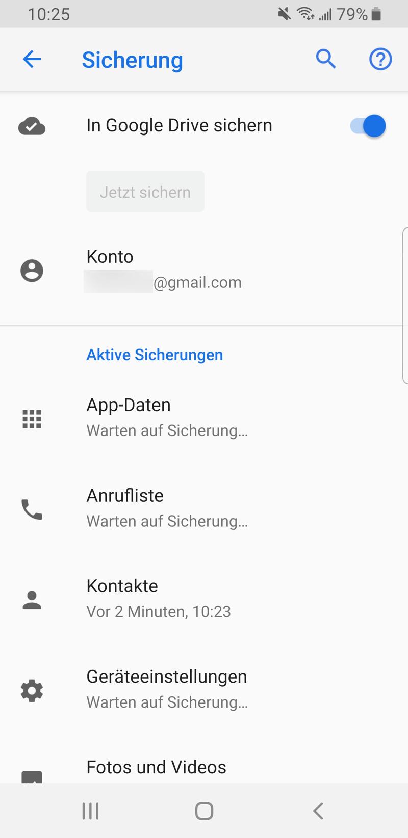 Android Daten in Google Drive sichern