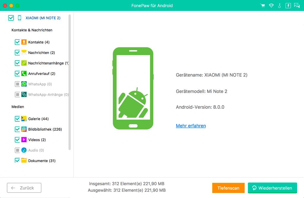 Daten von Android auf Mac exportieren