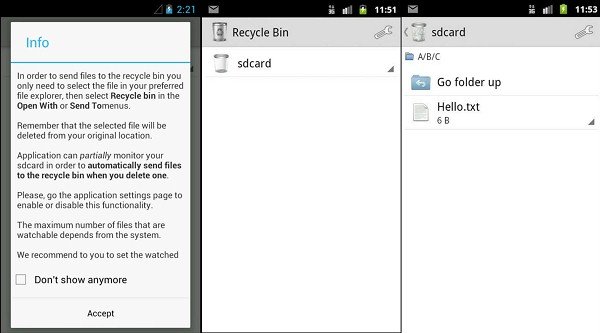 Android Papierkorb App Recycle Bin
