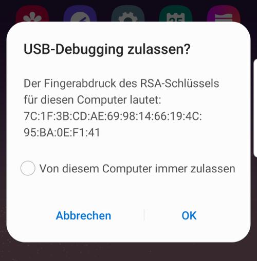USB Debugging zulassen