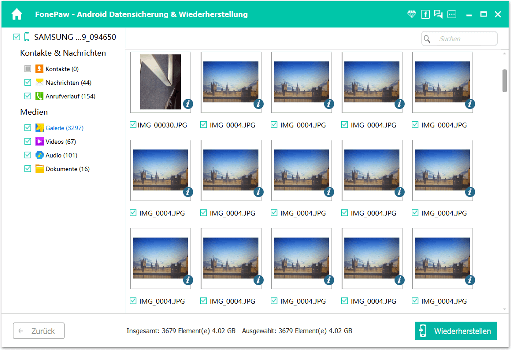 Asus ZenFone Daten im Backup ansehen