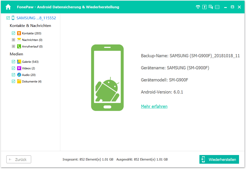 Android SMS Backup ansehen