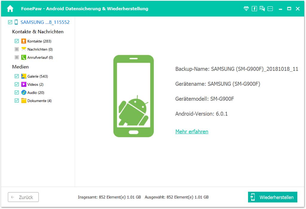 Samsung Kontakte im Backup ansehen