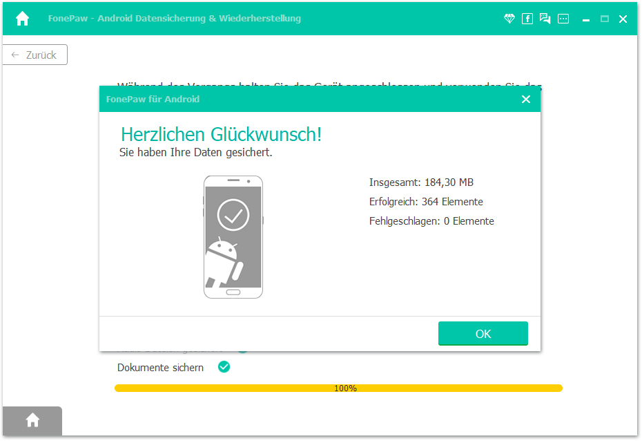 Android Backup auf PC fertiggemacht