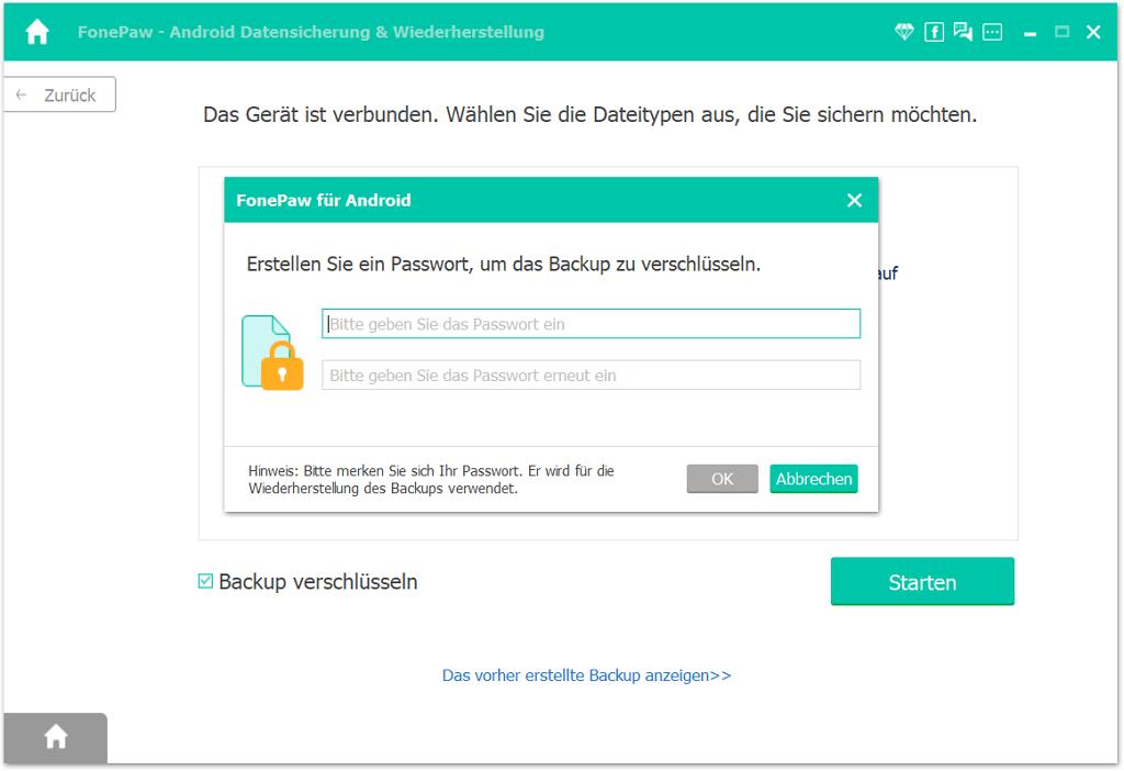 Samsung SMS Backup verschlüsseln