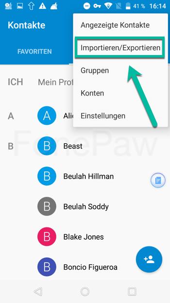 Android Kontakte importieren und exportieren