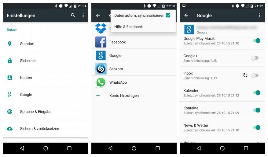 Android Kontakte per Google Konto sichern