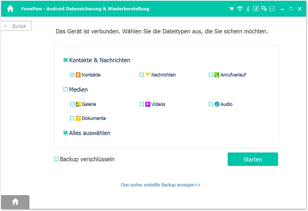 Kontakte für Android Backup auswählen