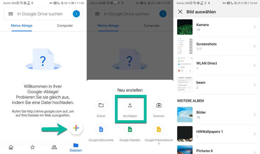 Android Fotos Videos sichern mit Google Drive