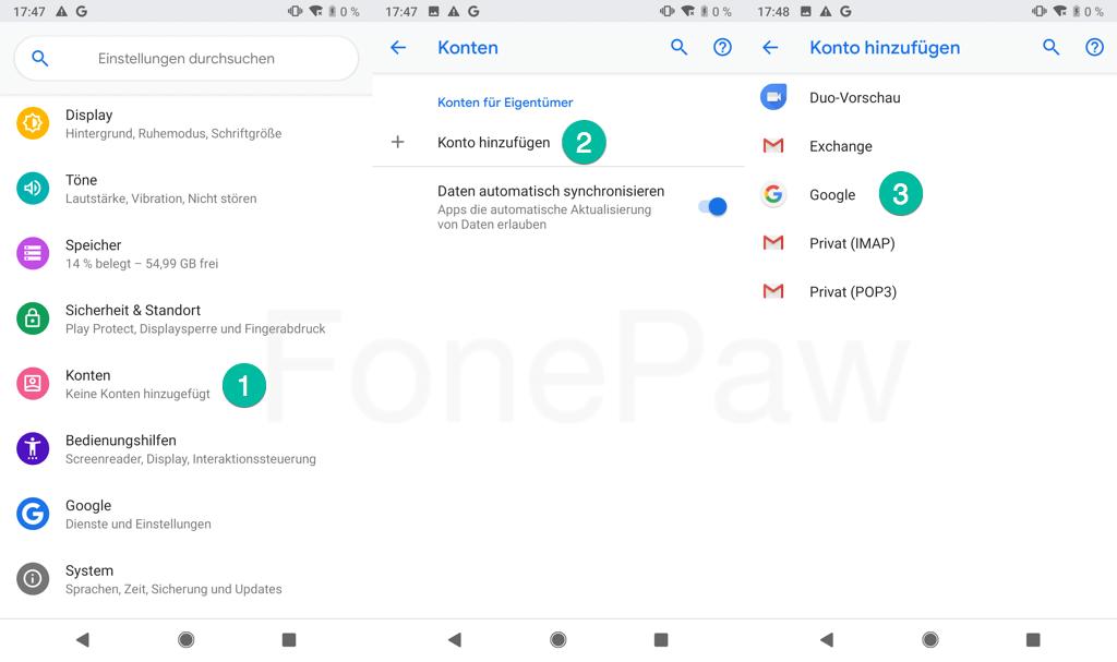 Google Konto zum Pixel Backup hinzufügen