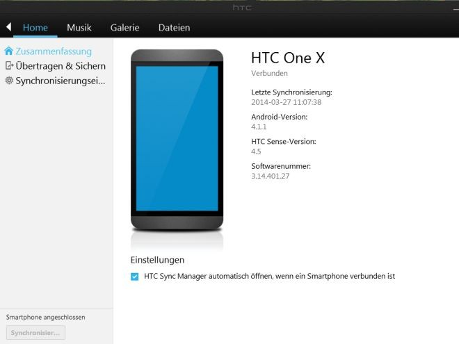 HTC Backup mit Sync Manager