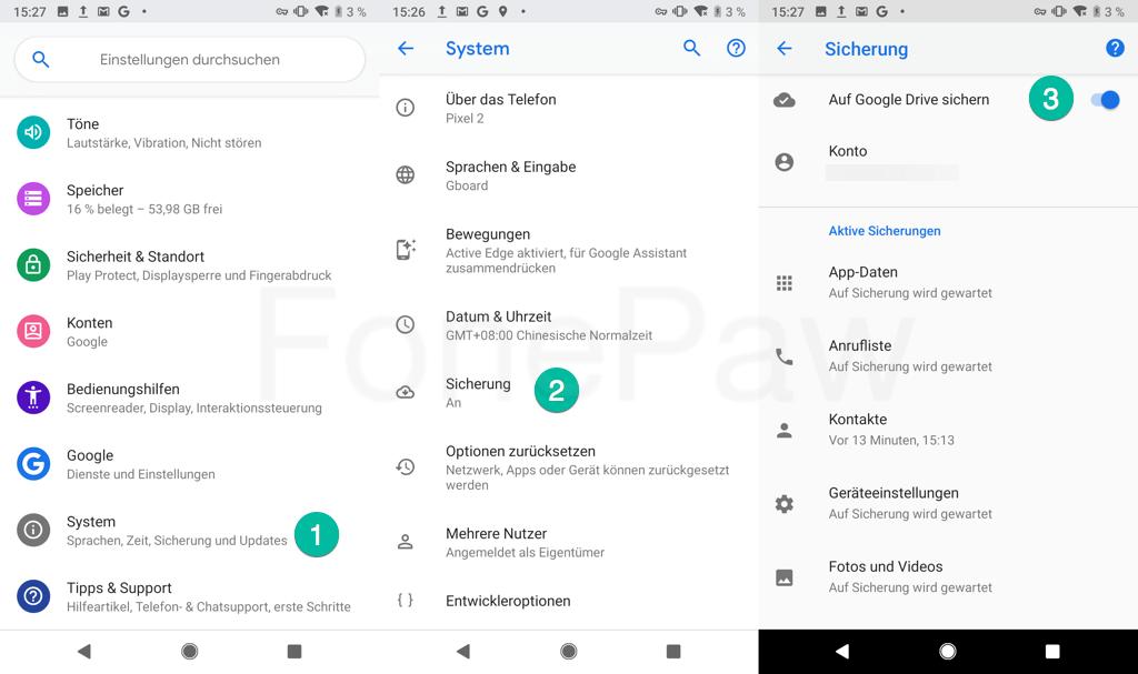 Pixel Backup mit Google Konto