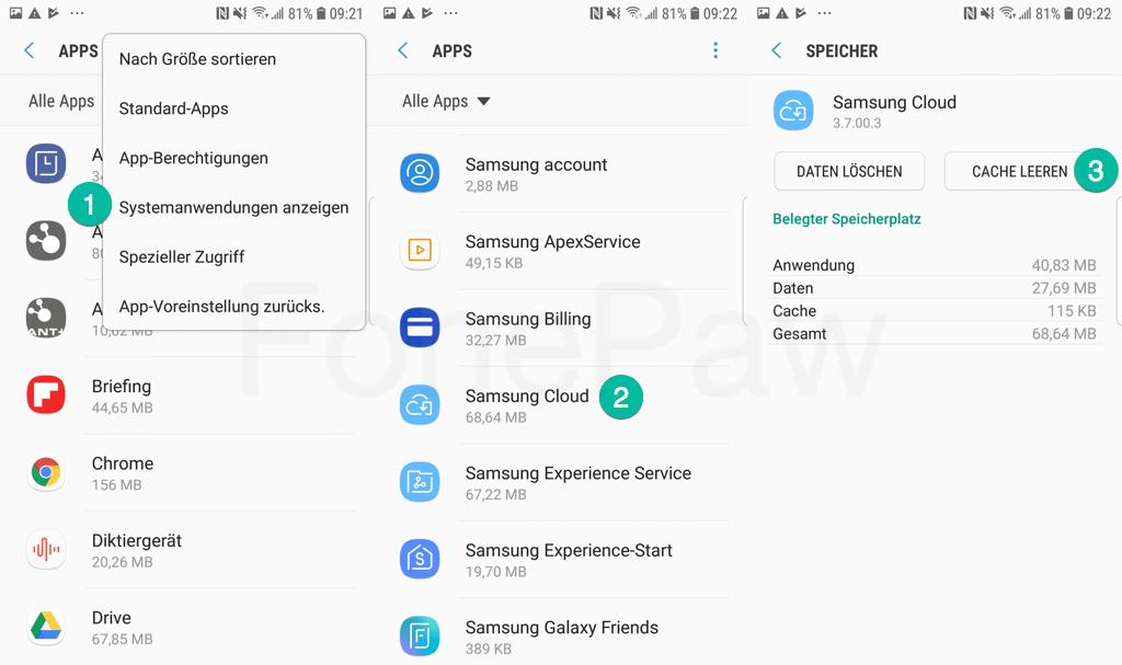 Samsung Cloud Daten löschen und Cache leeren