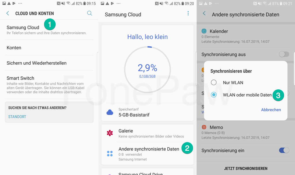 Samsung Cloud Daten Synchronisieren über Mobile Daten