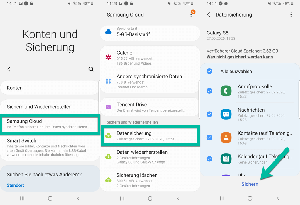 Samsung Cloud Datensicherung