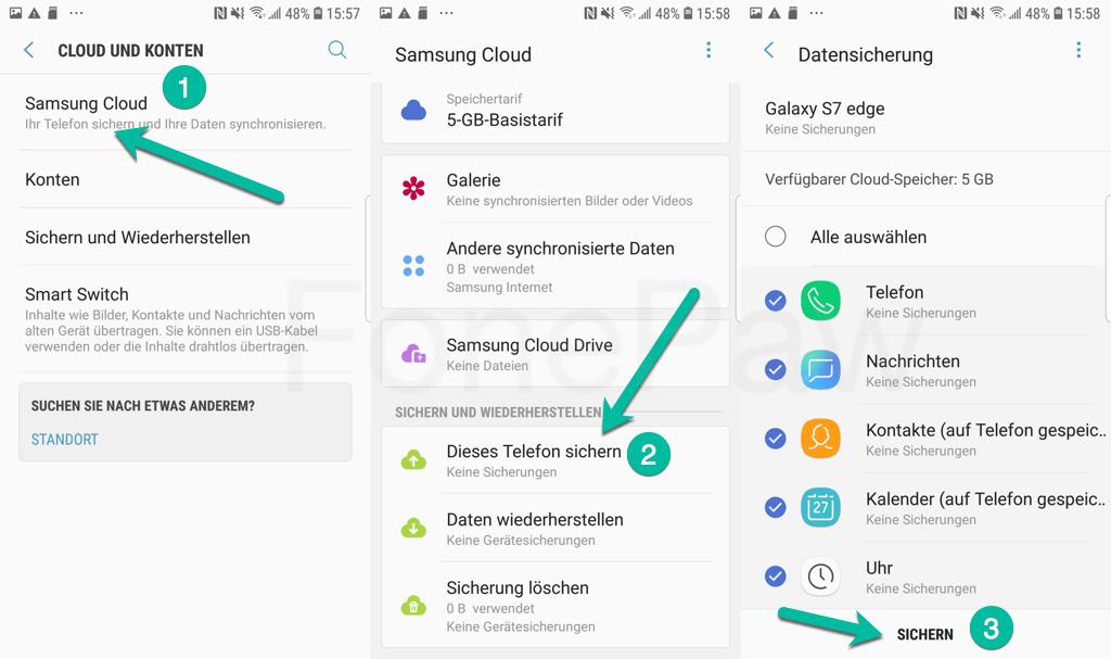 Samsung Daten sichern mit Samsung Cloud