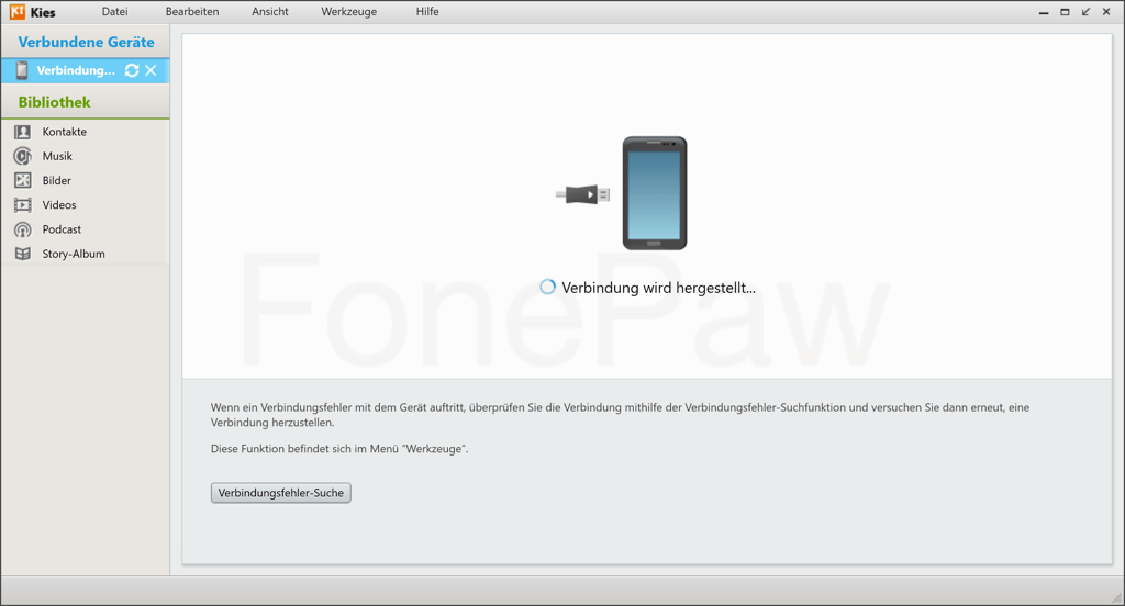 Samsung Kies hängt bei Verbindung wird hergestellt
