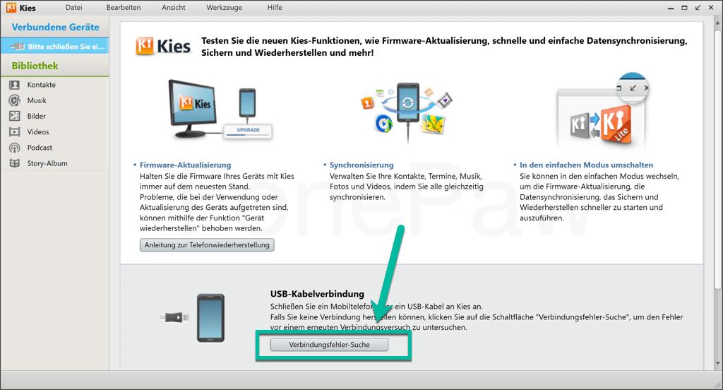 Samsung Kies Verbindungsfehler-Suche