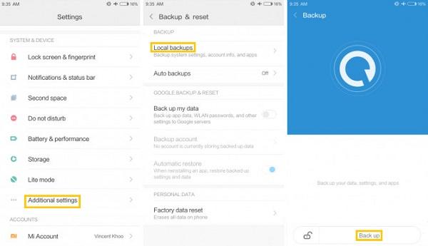 Lokale Datensicherung für Xiaomi Mi/Redmi