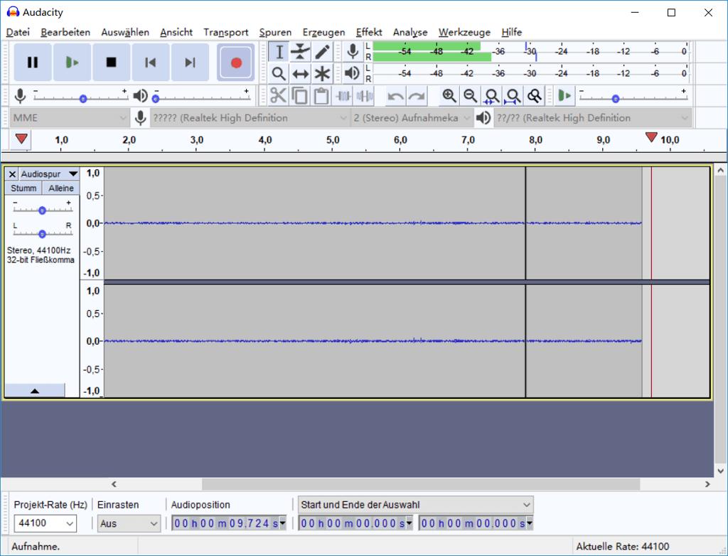 Audio-Aufnahme starten Audacity