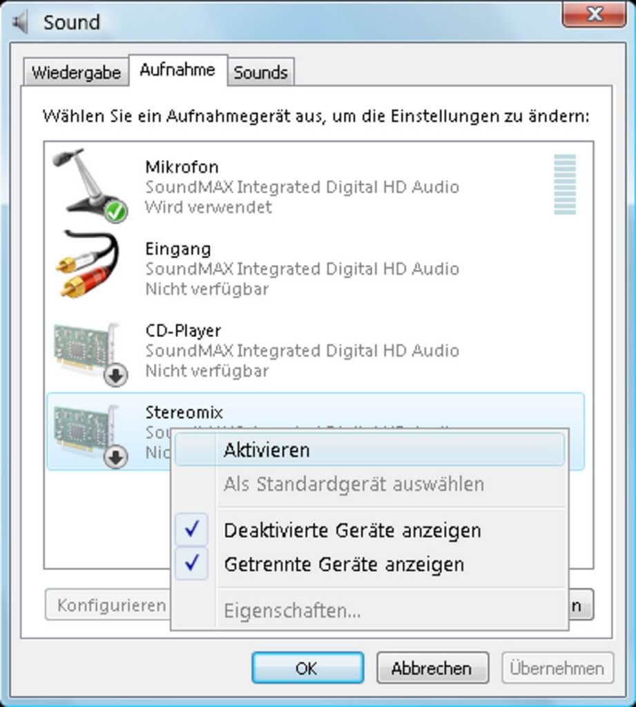 Alle Aufnahmegeräte auf Windows aktivieren
