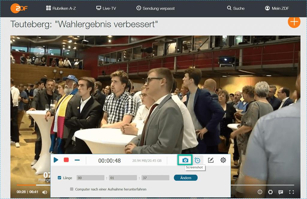 Bildschirmfoto erstellen ZDF-Videoaufnahme