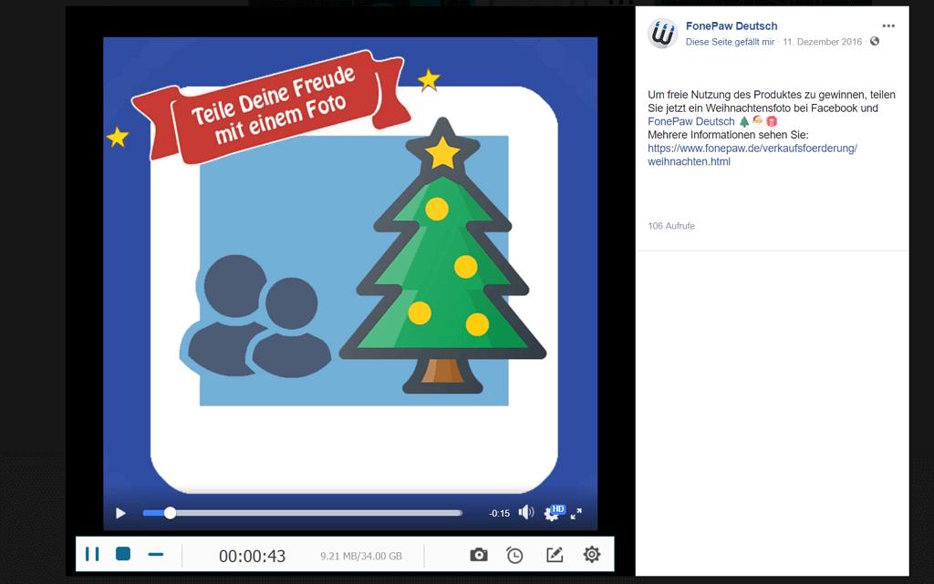 Facebook-Videos aufnehmen Bildschirm Recorder