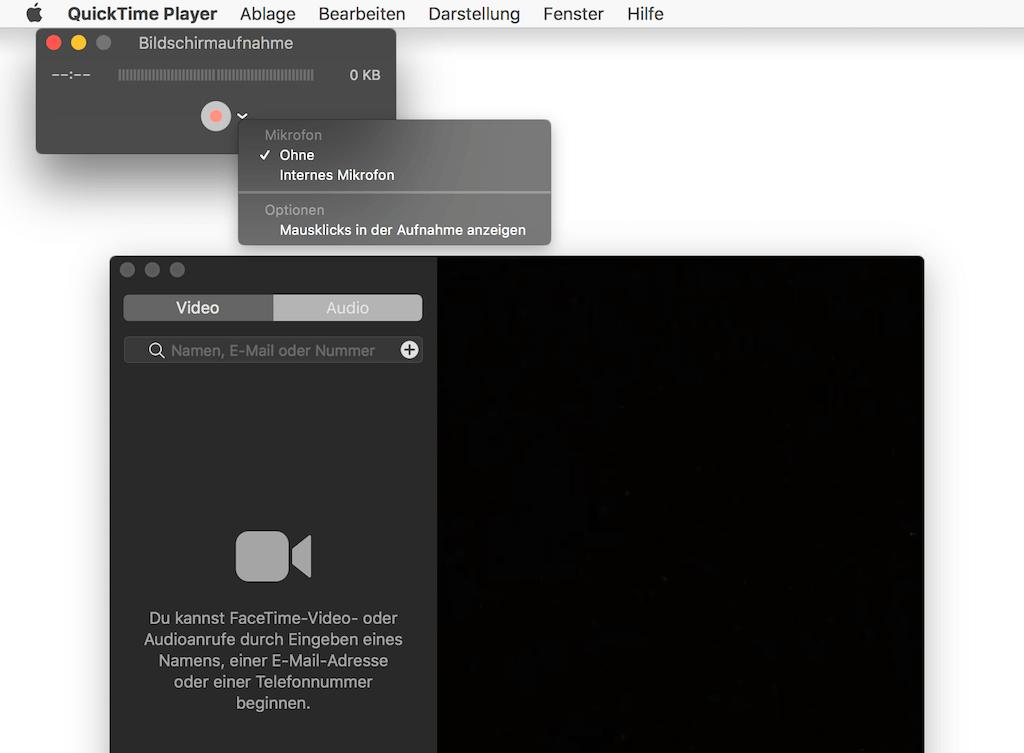 Facetime Bildschirm aufnahmen mit Quicktime
