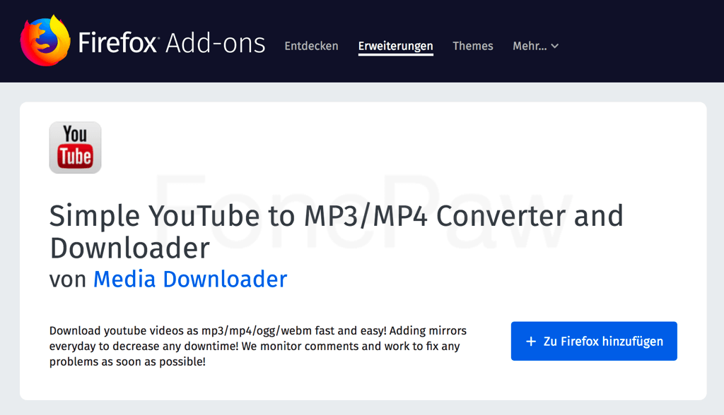 Firefox Simple YouTube to MP3/MP4 Downloader Converter