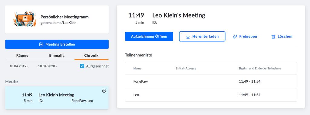 GoToMeeting Aufzeichnung verwalten