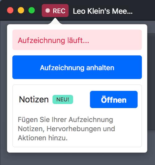 GoToMeeting Aufzeichnung läuft