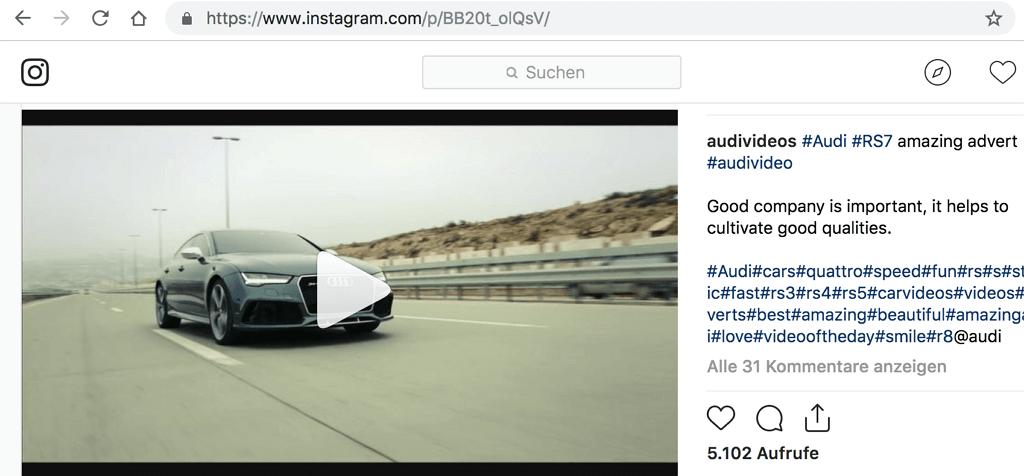 URL des Instagram-Videos kopieren