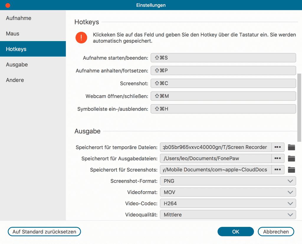 Mac Screenshot Tastenkonbinationen mit Bildschirm Recorder