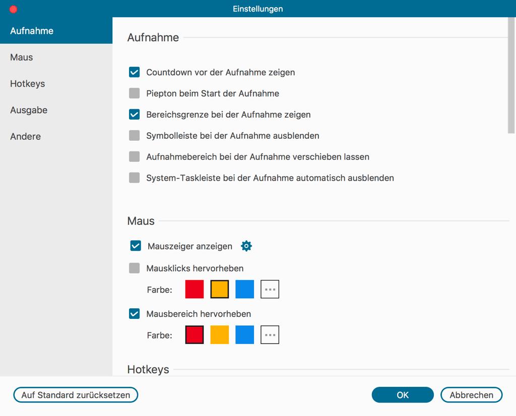 Mac Bildschirm Recorder Allgemeine Einstellungen
