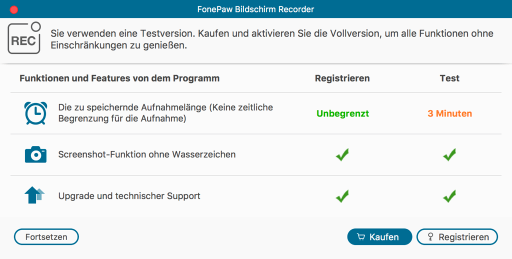FonePaw Bildschirm Recorder für Mac registrieren