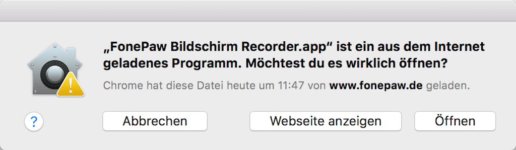 Bildschirm Recorder zu oeffnen erlauben